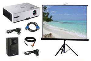Alquiler pack proyector, pantalla y altavoz