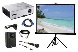 Alquiler pack proyector, pantalla, altavoz y micro con cable