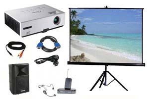 Alquiler pack proyector, pantalla, altavoz y micro inalámbrico