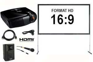 Alquiler pack proyector gran angular, pantalla 366, altavoz u micro con cable