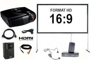 Alquiler pack proyector gran angular, pantalla 366, altavoz y micro inalámbrico