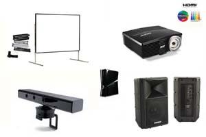 Alquiler pack entretenimiento proyector gran angular, pantalla 366, altavoz y simulador Microsoft