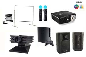 Alquiler pack entretenimiento proyector gran angular, pantalla 366, altavoz y simulador Sony