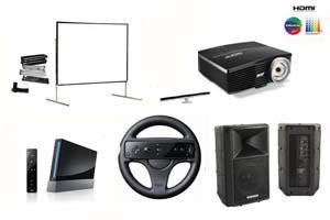 Alquiler pack entretenimiento proyector gran angular, pantalla 366, altavoz y simulador Nintendo